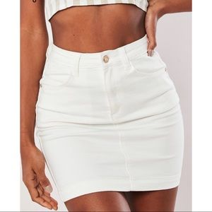 White denim stretch mini skirt